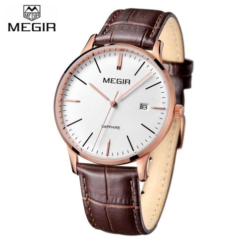 MEGIR Comfortable PU Strap Simple Quartz Wristwatch Excellent Water Resistant Analog Man Watch with Date J1391BRG