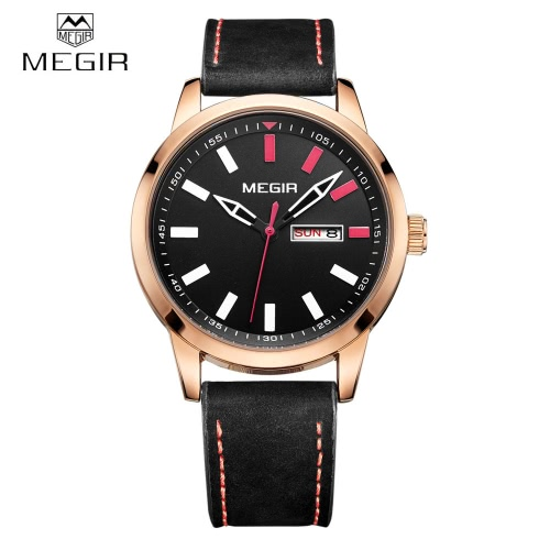 MEGIR Comfortable PU Strap Quartz Wristwatch 3ATM Water Resistant Analog Man Watch with Date Week Display