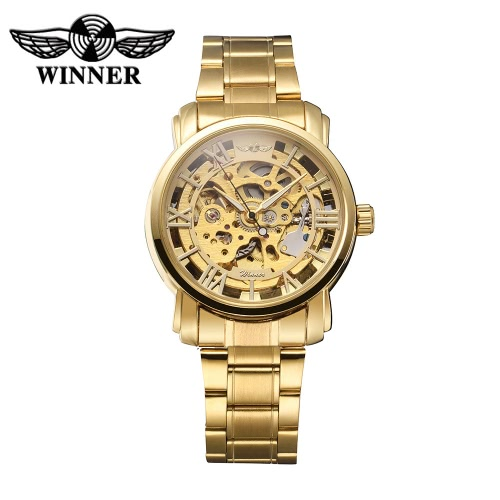 Image of WINNER Stainless Steel Self-winding Automatic Mechanical Watch Skeleton Dial Transparent Stainless Steel Fashion Casual Wristwatch