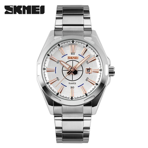 SKMEI 2016 Brand New Luxury Business Watch For Men Analog Steel Silver Watches Fashion Casual Wristwatches