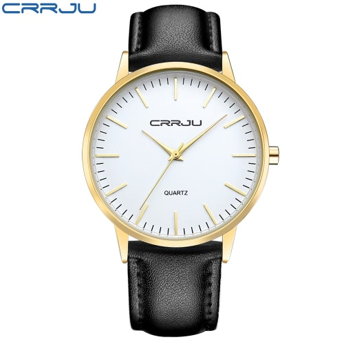CRRJU Minimalist Design Man Business Watch 3ATM Daily Water Resistant PU Leather Strap Analog Watch