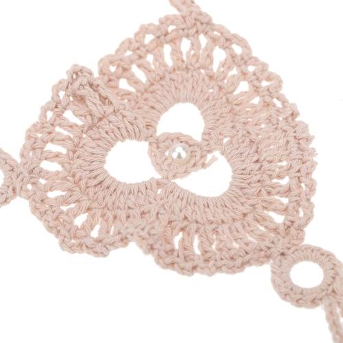 Beige Cotton Thread Crochet Foot Chain Bracelet Anklet Patterns Circles Pearl Beach Barefoot Sandal