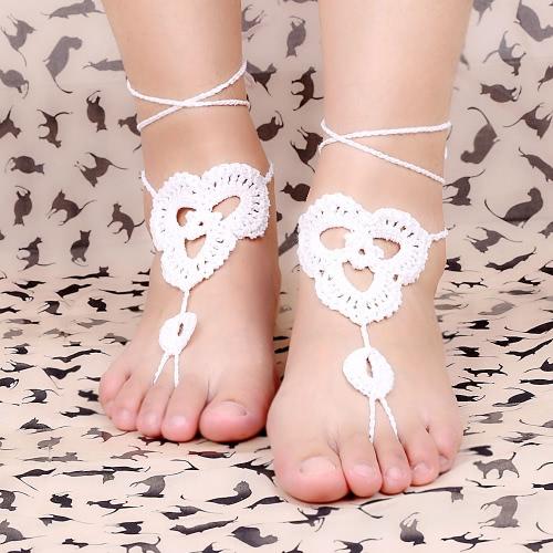 Cotton Thread Crochet Foot Chain Bracelet Anklet Patterns Beach Barefoot Sandal White J0197W