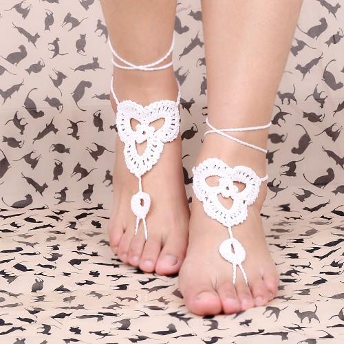 Cotton Thread Crochet Foot Chain Bracelet Anklet Patterns Beach Barefoot Sandal White