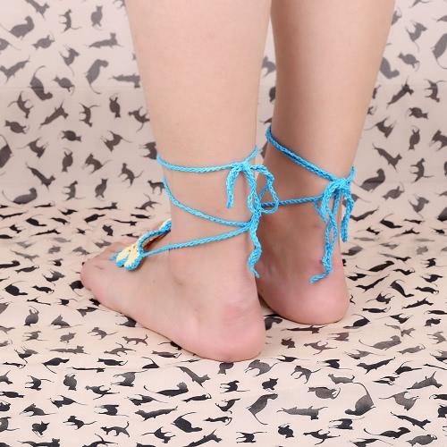 Cotton Thread Crochet Foot Chain Bracelet Anklet Colorful Flower Beach Barefoot Sandal 1#