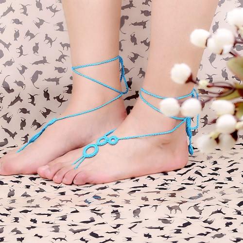 Blue Cotton Thread Crochet Foot Chain Bracelet Anklet Lovely Circles Beach Barefoot Sandal
