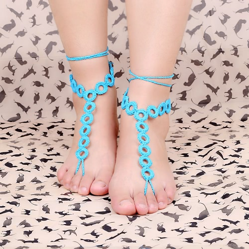Cotton Thread Crochet Foot Chain Bracelet Anklet Circles Beach Barefoot Sandal Grey J0207GY
