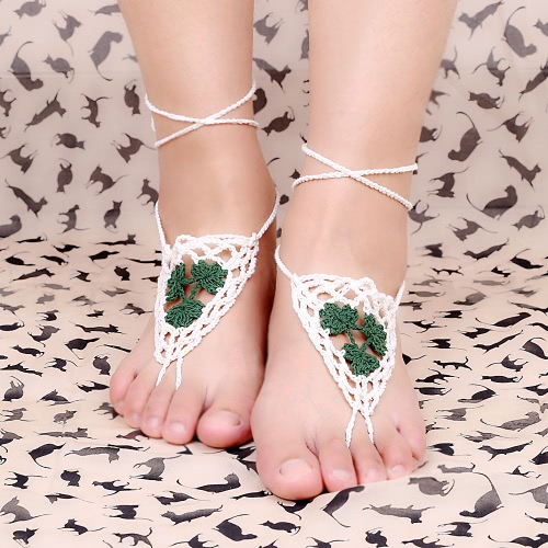 Cotton Thread Crochet Foot Chain Bracelet Anklet Maple Leaf Triangle Beach Barefoot Sandal Blue