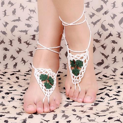 Cotton Thread Crochet Foot Chain Bracelet Anklet Maple Leaf Triangle Beach Barefoot Sandal Purple J0208PU