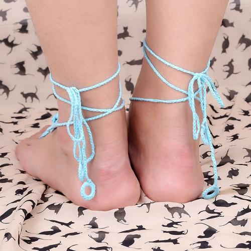 Cotton Thread Crochet Foot Chain Bracelet Anklet Flower Circles Beach Barefoot Sandal Toe Ring Blue