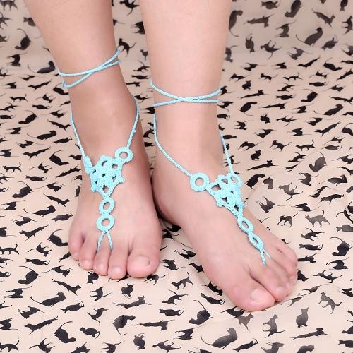 Cotton Thread Crochet Foot Chain Bracelet Anklet Flower Circles Beach Barefoot Sandal Toe Ring White J0213W