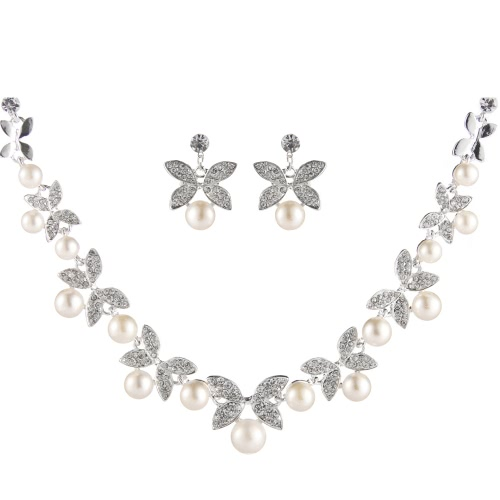 Elegant Alloy with Rhinestone Flower and Leaf