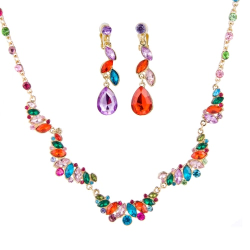 Buy Graceful Ladies' Women' s Alloy Wedding Party Pendant Jewelry Set Double Heart-Shaped Three Layers Pearl Including Necklace Earrings