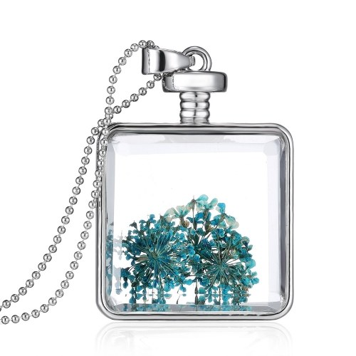 Fashion New Jewelry Romantic Transparent Crystal Glass Square Floating Locket Dried Flower Plant Specimen Golden/Silver Pendant Chain Necklace for Women GirlsNecklaces &amp; Pendants<br>Fashion New Jewelry Romantic Transparent Crystal Glass Square Floating Locket Dried Flower Plant Specimen Golden/Silver Pendant Chain Necklace for Women Girls<br><br>Blade Length: 30.0cm