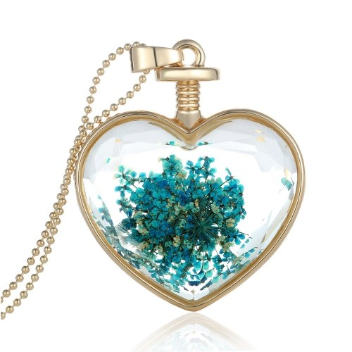 Fashion New Jewelry Romantic Transparent Crystal Glass Heart Shape Floating Locket Dried Flower Plant Specimen Golden/Silver Pendant Chain Necklace for Women GirlsNecklaces &amp; Pendants<br>Fashion New Jewelry Romantic Transparent Crystal Glass Heart Shape Floating Locket Dried Flower Plant Specimen Golden/Silver Pendant Chain Necklace for Women Girls<br><br>Blade Length: 30.0cm