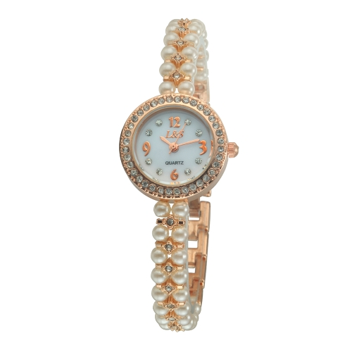Rhinestone Quartz Movement Analog Artificial Pearl Bead Band Bracelet Decoration Wrap Wrist Watch for Girl Women