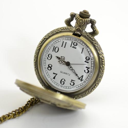 Vintage Bronze Engraved Men Pocket Watch Antique