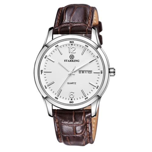 Starking Men Retro Vintage 3ATM Wristwatch Genuine Leather Watchband Analog Quartz Watch