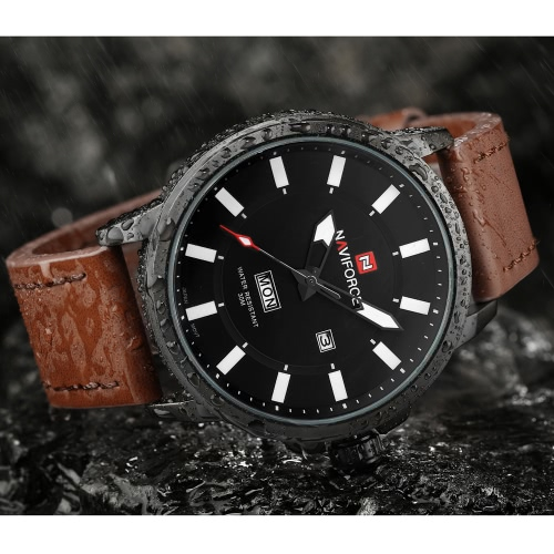 NAVIFORCE 3ATM Water Resistant Classic Analog Man Watch High Quality PU Leather Quartz Wristwatch with Date Week Function J1610BK