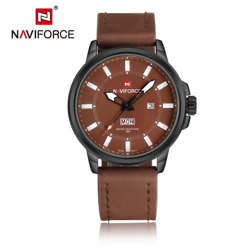 NAVIFORCE 3ATM Water Resistant Classic Analog Man Watch High Quality PU Leather Quartz Wristwatch with Date Week Function J1610K