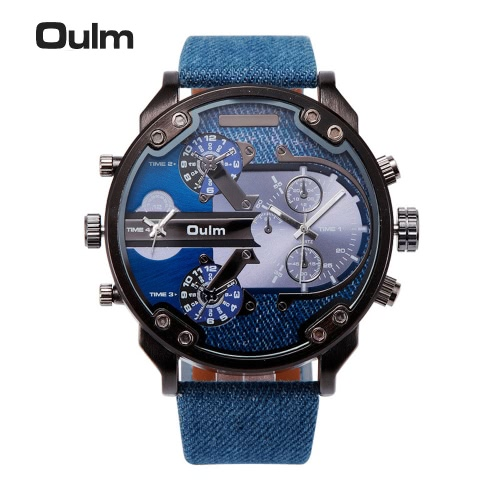 Oulm  Dual Time Display Big Dial 3ATM Water-resistant Mens Quartz WatchQuartz Watches<br>Oulm  Dual Time Display Big Dial 3ATM Water-resistant Mens Quartz Watch<br><br>Blade Length: 13.0cm