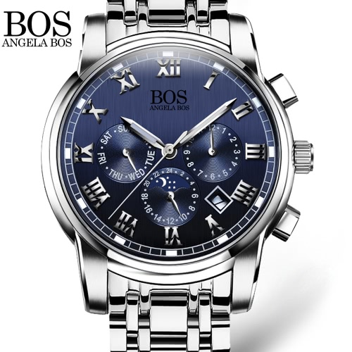 Angela Bos Luxury Stainless Steel Analog Wristwatch Luminous 3ATM Water Resistant Analog Man Quartz Watch with Luminous HandsQuartz Watches<br>Angela Bos Luxury Stainless Steel Analog Wristwatch Luminous 3ATM Water Resistant Analog Man Quartz Watch with Luminous Hands<br><br>Blade Length: 10.6cm