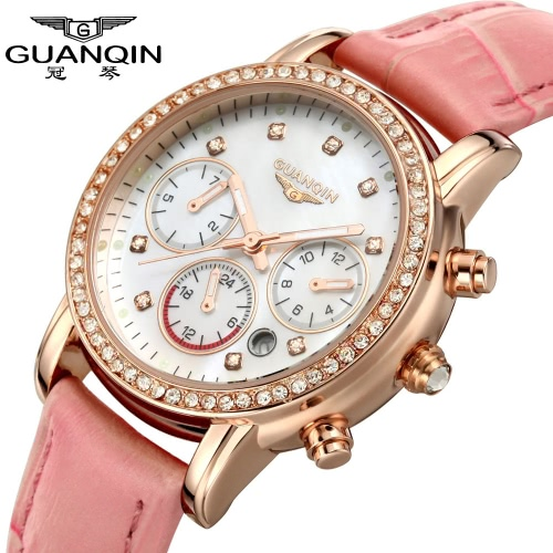 GUANQIN 2016 Women Luxury Brand Watches Quartz Dress Watch Waterproof Fashion Diamante Synthetic Sapphire Leather Wristwatch for LadyQuartz Watches<br>GUANQIN 2016 Women Luxury Brand Watches Quartz Dress Watch Waterproof Fashion Diamante Synthetic Sapphire Leather Wristwatch for Lady<br><br>Blade Length: 10.1cm