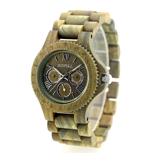 Quartz Analog Unique Hypoallergenic Wooden Wristwatch High J0988GR