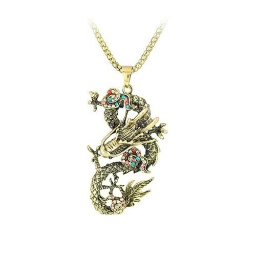 Fashion Vintage Retro Rhinestone Crystal Jewelry Chinese Dragon Pendant Long Necklace Sweater Chain for Women GirlsNecklaces &amp; Pendants<br>Fashion Vintage Retro Rhinestone Crystal Jewelry Chinese Dragon Pendant Long Necklace Sweater Chain for Women Girls<br><br>Blade Length: 10.0cm