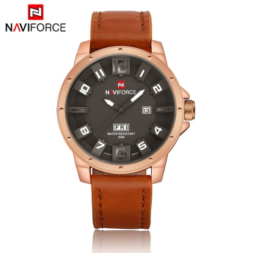NAVIFORCE Unique 3D Face Man Watch 3ATM Water Resistant Genuine Leather PU Watchband Leisure Army Military Wristwatch with Date/Weeks Display J1164BR