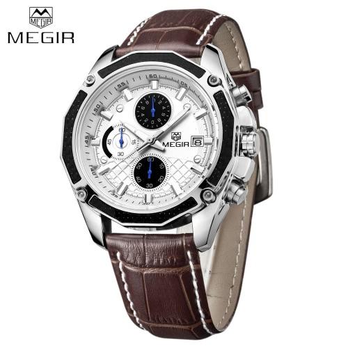 MEGIR Genuine Leather Strap Quartz Man Wristwatch Awesome Analog Watch With Calendar and Sub-dial