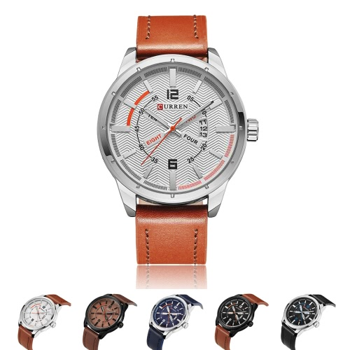 CURREN Brand 2016 Fashion Man's Casual Quartz Watch PU Leather Water-resistant Analog Men Business Wristwatch W/ Calendar Watch for Man