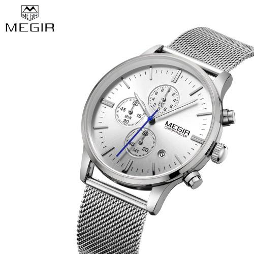 MEGIR High-end Steel Mesh Watchband Business Man Wristwatch Excellent Quartz Watch With Calendar and Sub-dial J1364S