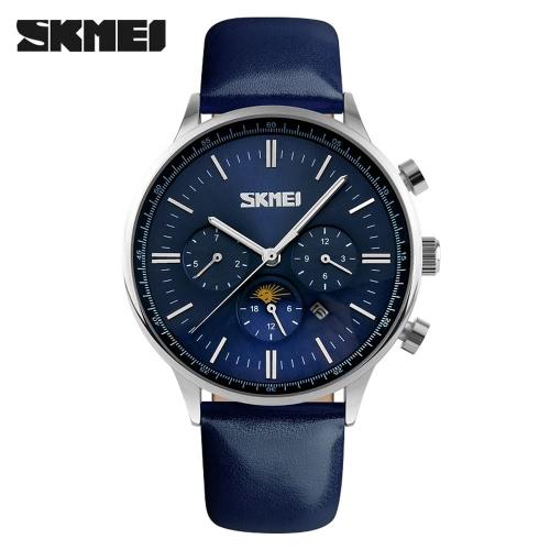 SKMEI New 2016 Men Fashion Sports Watches Luxury Brand Men Business Quartz Watches Waterproof Leather Watchband Three Needles Big Dial Men's Wristwatch