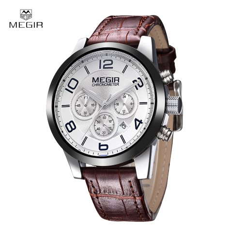 MEGIR Fashion Analog Quartz Wristwatch 3ATM Water Resistant Comfortable Genuine Leather Man Watch with Sub-dial
