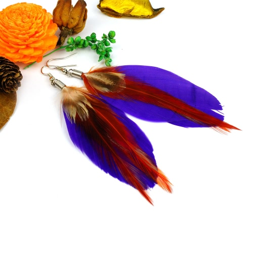 Women New Fashion Long Colorful Feather Cute Chandelier Dangle Earring Eardrop Jewelry Accessory GiftEarrings<br>Women New Fashion Long Colorful Feather Cute Chandelier Dangle Earring Eardrop Jewelry Accessory Gift<br><br>Blade Length: 15.5cm