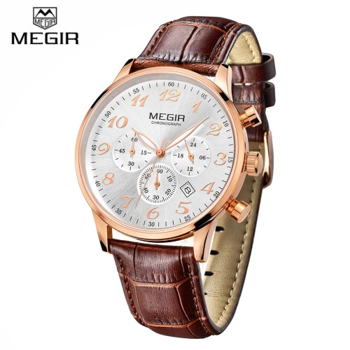 MEGIR Luxury Brand Business Men Wristwatch 3 Sub-dial Leather Strap Water-resistant Mans Casual Quartz Dress Watch with Auto DateMEGIR Luxury Brand Business Men Wristwatch 3 Sub-dial Leather Strap Water-resistant Mans Casual Quartz Dress Watch with Auto Date<br><br>Blade Length: 13.0cm