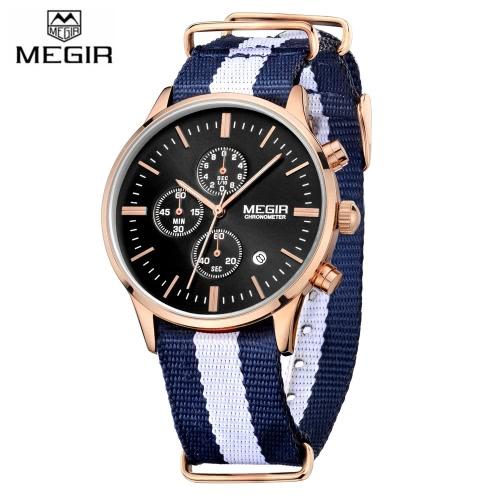 MEGIR Canvas Strap Quartz Man Wristwatch Neat Looking Analog Watch with Sub-dial