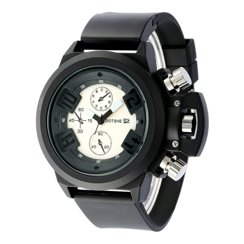 Fashion Casual High Quality Analog Quartz Watch Soft Rubber Strap Man Wristwatch with Decorative Sub-dial