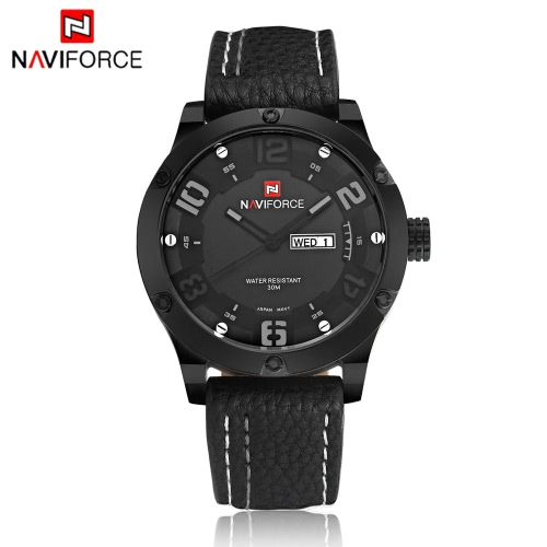 NAVIFORCE Luxury Brand Men Casual Quartz Wristwatch PU Leather Strap Fashion Man's Business Watch with Date J1169BGY