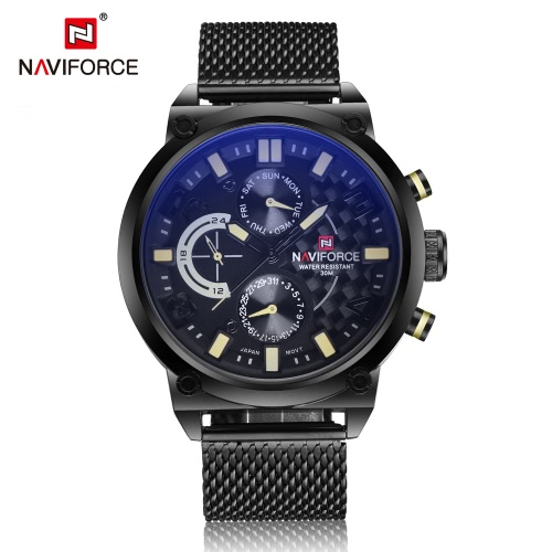 NAVIFORCE Professional 3ATM Water Resistant Man Watch  High Quality Analog Quartz Wristwatch with Date Week Sub-dial
