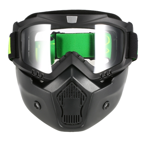 Buy Mortorcycle Mask Detachable Goggles Mouth Filter Open Face Helmet Motocross Ski Snowboard