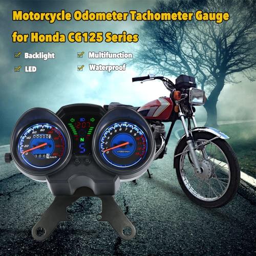 LED Digital Backlight Motorcycle Odometer Speedometer Tachometer Gauge for Honda CG-125 Series