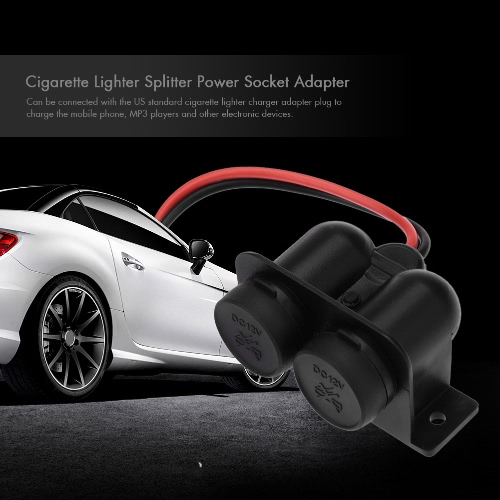 Car Cigarette Lighter Splitter Power Socket Adapter 2 Ports 12V Waterproof от Tomtop.com INT