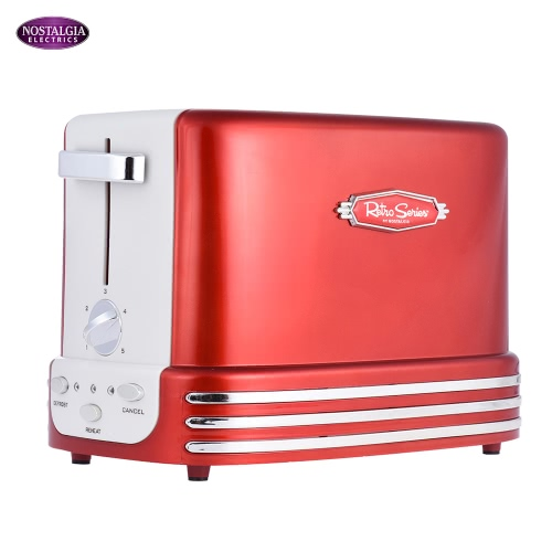 Nostalgia RTOS200 50s Style 2-slice Retro Toaster Household Bread Toast Machine Breakfast Maker KB0013