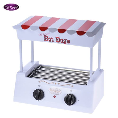 Nostalgia HDR565 Old Fashioned Household Hot Dog Roller Grill Maker Hot-dog Barbecue BBQ Machine with Bun Warmer 5 Rollers 11281