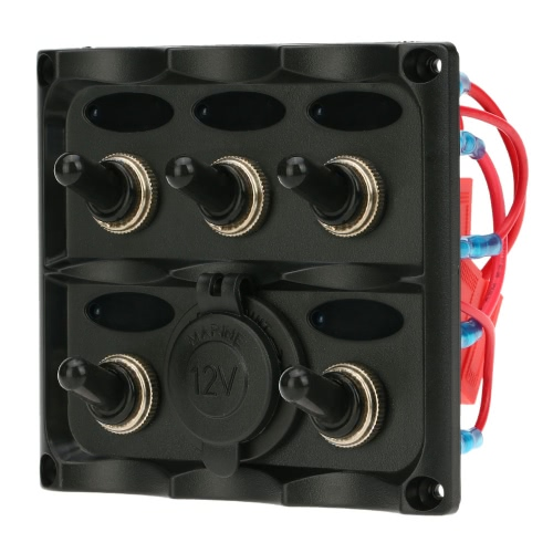 Buy Pre-wired ON-OFF 5-Gang Toggle Switch Panel 12V 24V Cigarette Lighter Socket Car Boat Marine Motorcycle Bus Trailer