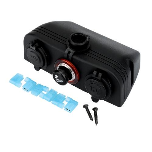 Dual USB Car Cigarette Lighter Socket Splitter Charger Adapter + Power Socket Outlet + Socket 12V Plug