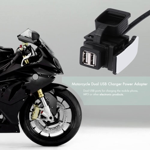 Motorcycle Dual USB Charger Power Adapter Waterproof 1A 1.1A от Tomtop.com INT