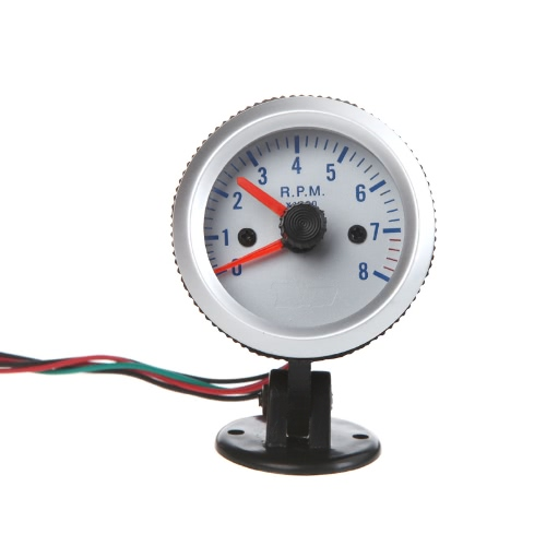 "Tachometer Tach Gauge with Holder Cup for Auto Car 2"" 52mm 0~8000RPM Blue Light"